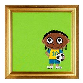 Grön tavla med fotbollsspelare