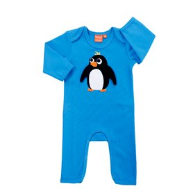 Blue jumpsuit with super penguin