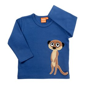 Blue shirt with meerkat