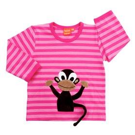 Ekologisk rosarandig tröja med sprallig apa som kan vifta på svansen.