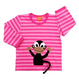 striped pink shirt with monkey
