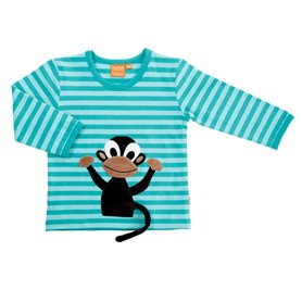 aqua striped shirt with monkey