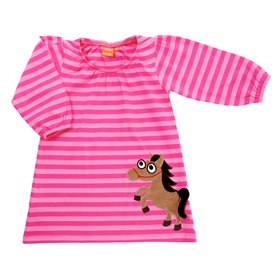 cerise/pink dress with horse