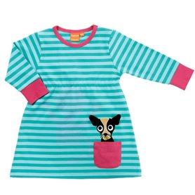 aqua striped dress with chihuahua