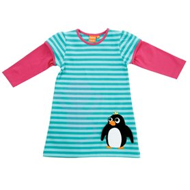 aqua striped dress with penguin