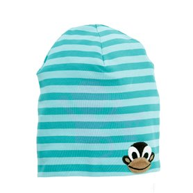 aqua striped cap with a monkey