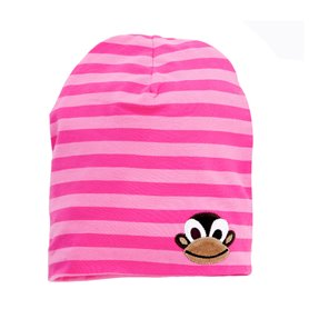 striped pink cap with a monkey