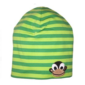 striped green cap with a monkey