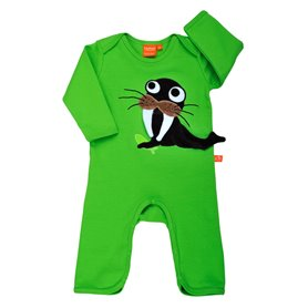 green jumpsuit with walrus