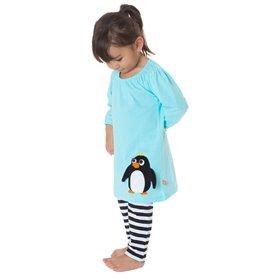 Isblå klänning med pingvin