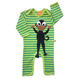 striped green jumpsuit with monkey