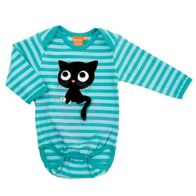aqua striped body with kitten (organic)