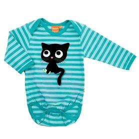aqua striped body with kitten (organic)