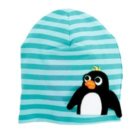 aqua striped cap with a penguin