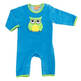 Blue velour-jumpsuit with owl